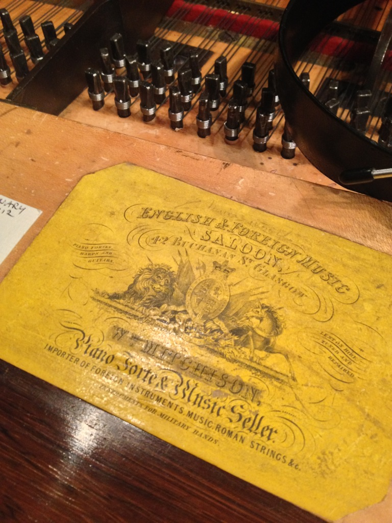 Mitchison's label from 1844 in the Broadwood piano