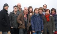 <strong>up in the morning early</strong><br>in the lunch break of the Revenge of the Folksingers session, out in the cold at Aldeburgh L-R Nick Halley, Jim Moray, Bill Taylor, David McGuinness, Olivia Chaney, Alison McGillivray, Mairi Campbell, Alasdair Roberts, Clare Salaman, Pamela Thorby